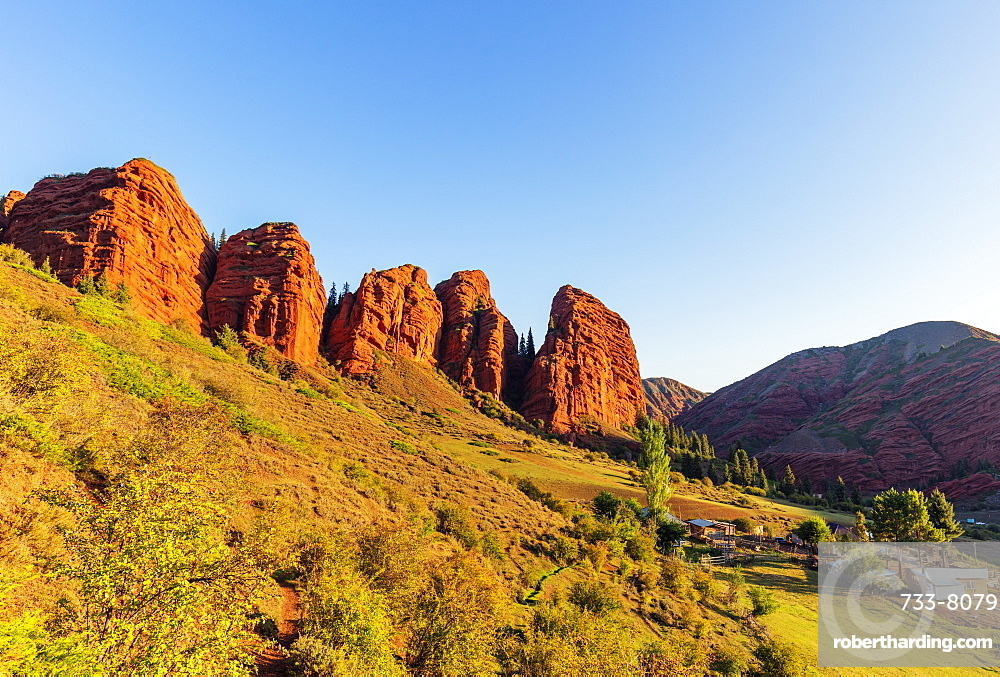 Jeti Oghuz Korort, sandstone rock formations, Karakol, Kyrgyzstan, Central Asia, Asia