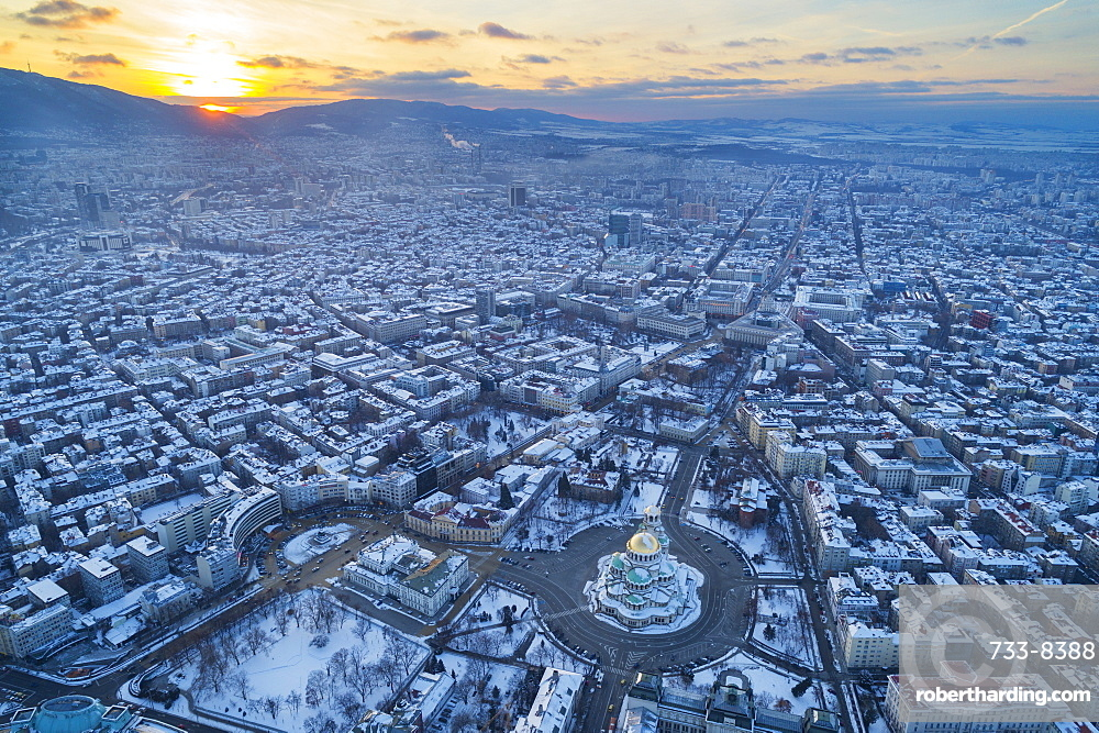 Aerial view of Alexander Nevsky Orthodox Cathedral in winter, Sofia, Bulgaria, Europe