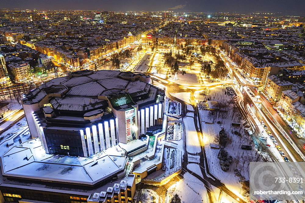 Aerial view of NDK National Cultural Center, Sofia, Bulgaria, Europe
