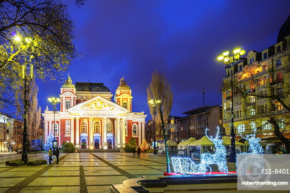 Ivan Vazov National Theatre at Christmas, Sofia, Bulgaria, Europe