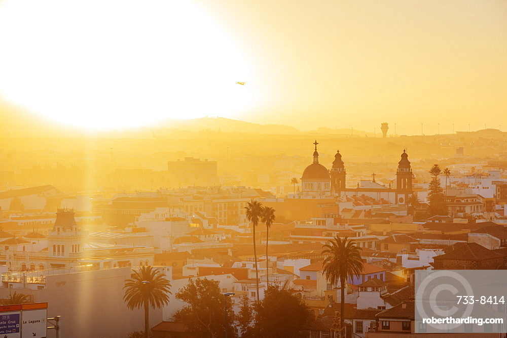 Europe, Spain, Canary Islands, Tenerife, San Cristobal de La Laguna, Unesco site, sunset town view