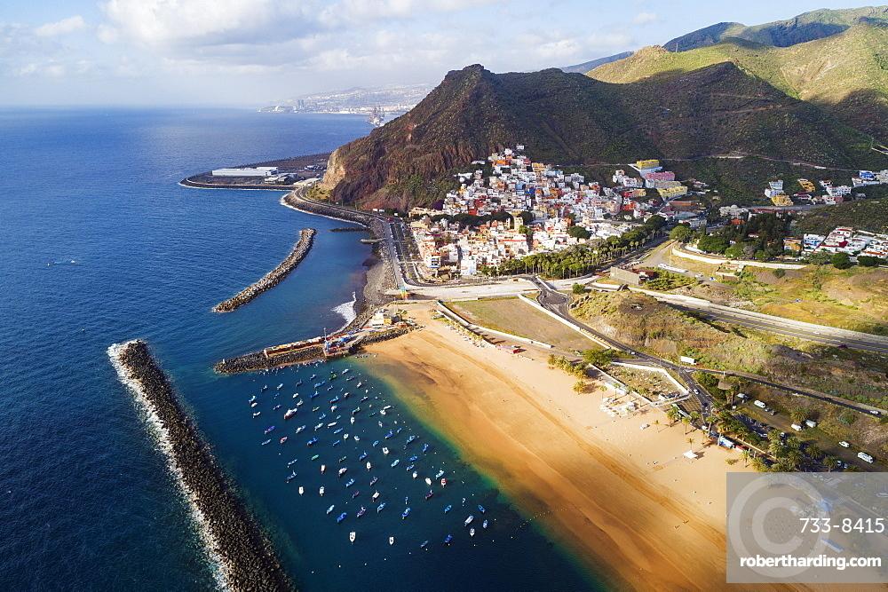 Europe, Spain, Canary Islands, Tenerife, San Andres, Playa de las Teresitas aerial view (drone)