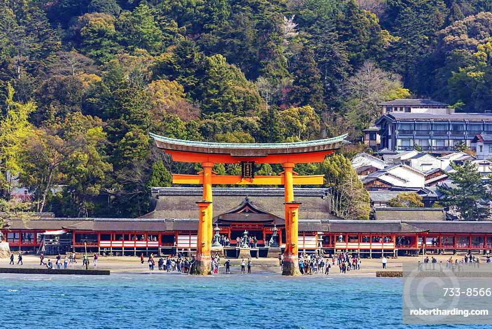Floating torii gate of Itsukushima Jinja, UNESCO World Heritage Site, Miyajima Island, Hiroshima Prefecture, Honshu, Japan, Asia