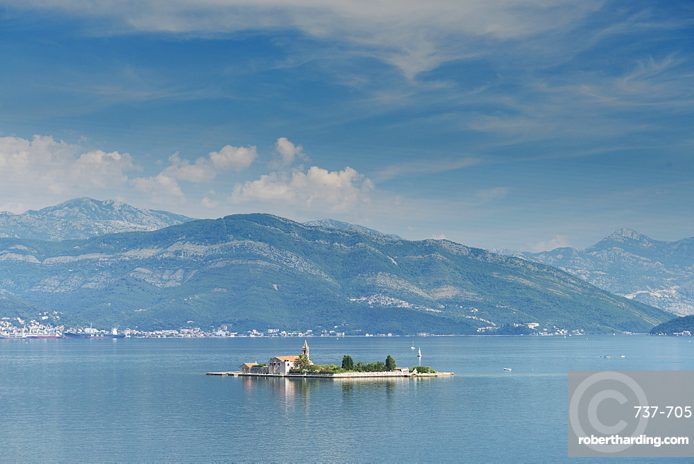 Bay of Tivat has beautiful villages, industrial ports and historic town of Kotor, Montenegro, Europe
