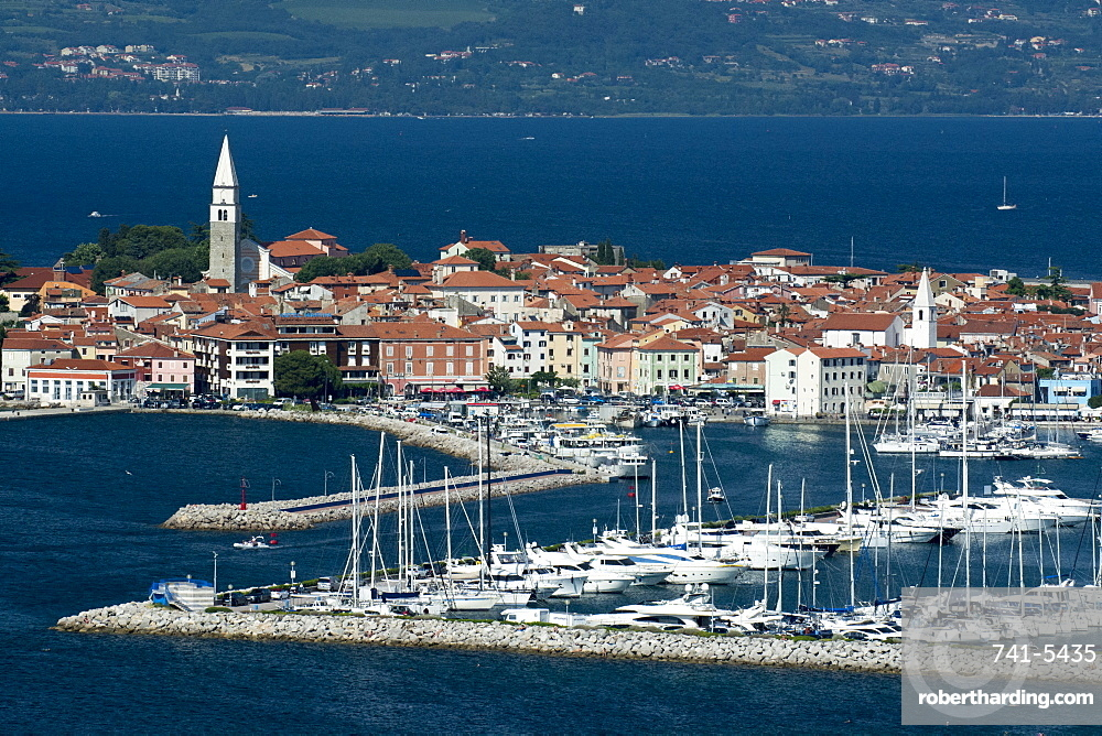 An elevated view of the town of Isola overlooking Adriatic Sea, Slovenia.