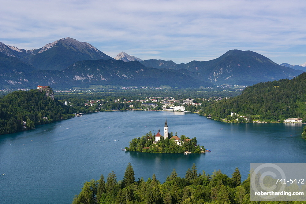 A view from above of Lake Bled and the Assumption of Mary Pilgrimage Church, Bled, Slovenia, Europe