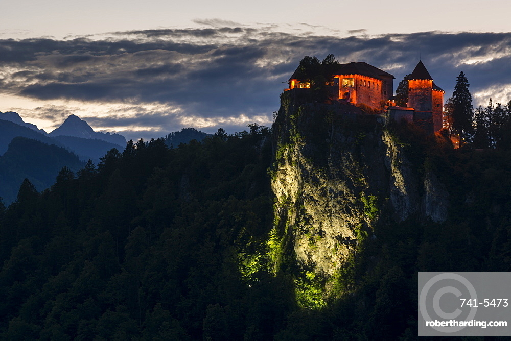 A view of Bled Castle at night, Slovenia.