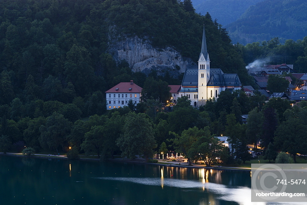 St. Martin's Church at night, Lake Bled, Slovenia, Europe