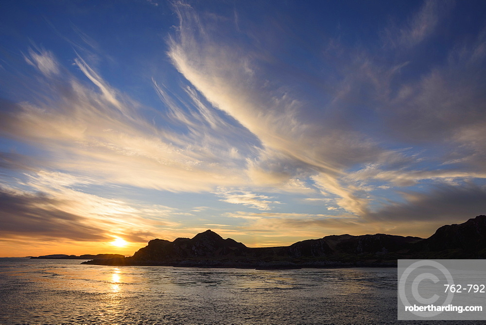 Sunset over the Inner Hebrides, from Scarba looking towards Lunga, Scotland, United Kingdom, Europe