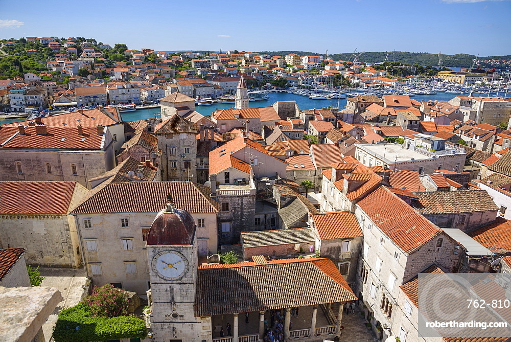 View from the bell tower, Cathedral of St. Lawrence, Trogir Old Town, UNESCO World Heritage Site, Croatia, Europe