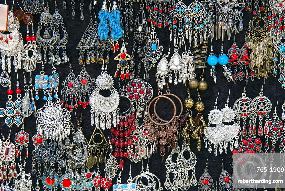 Earrings for sale, Sidi Bou said, Tunisia, North Africa, Africa