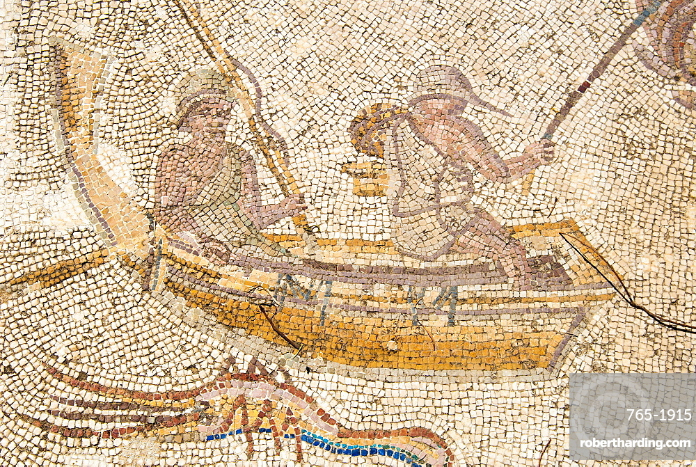 Mosaic of fishermen, Utica Punic and Roman archaeological site, Tunisia, North Africa, Africa