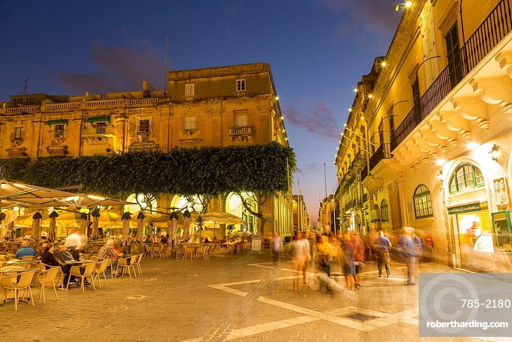 People enjoying an evening at Piazza Regina in Valletta, European Capital of Culture 2018, Malta, Mediterranean, Europe