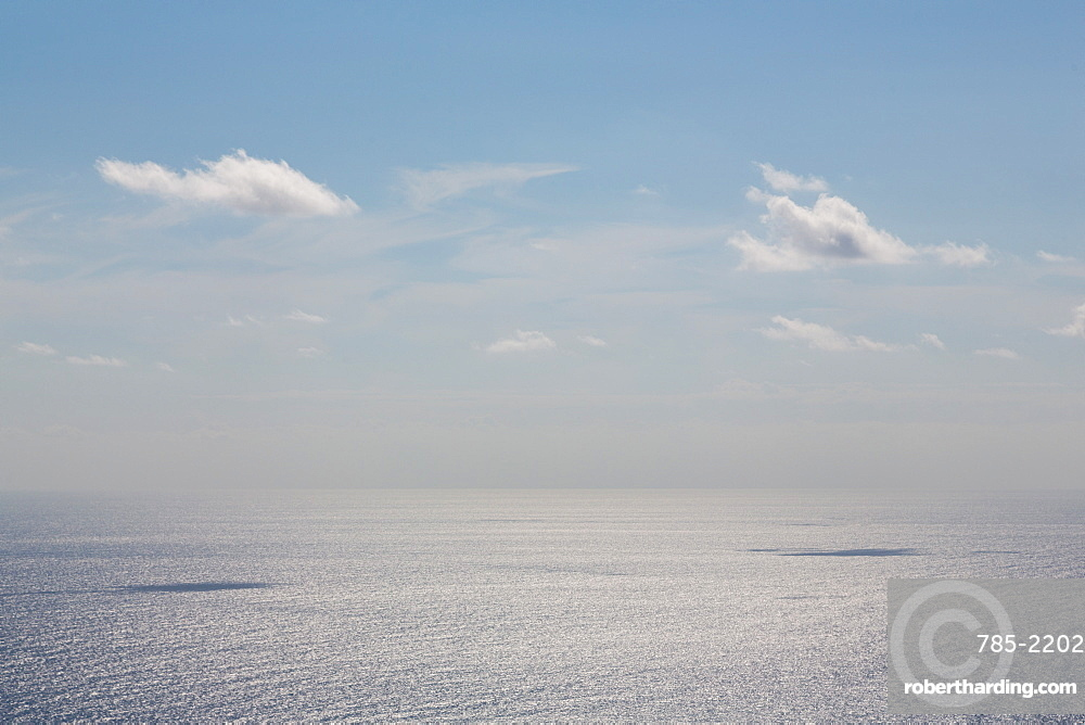 Clouds with shadows over a calm Mediterranean Sea, off Malta, Mediterranean, Europe
