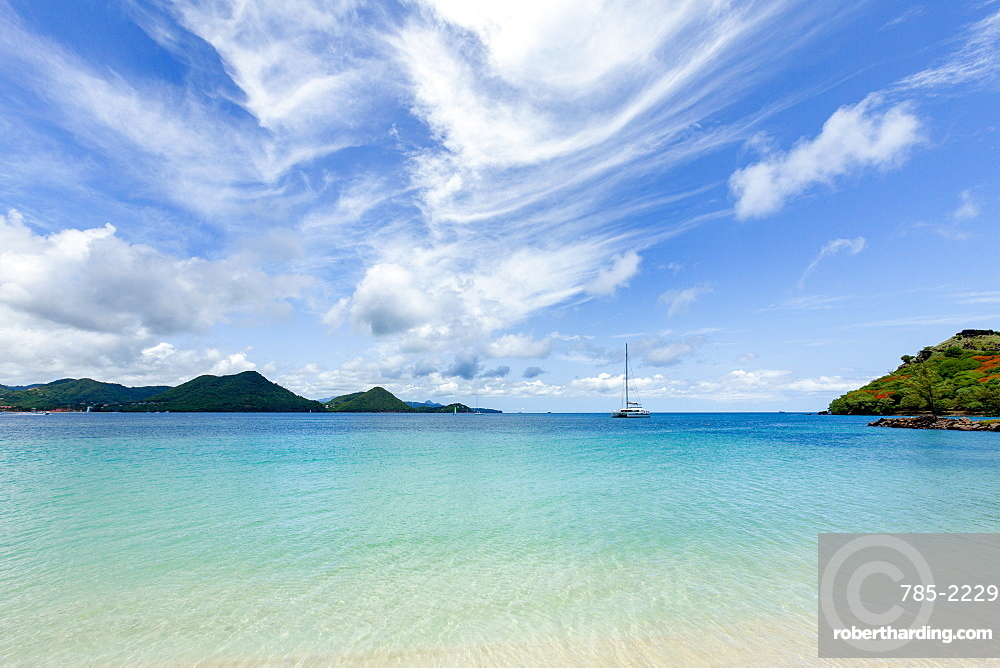 The beautiful clear water at Rodney Bay, St. Lucia, Windward Islands, West Indies Caribbean, Central America