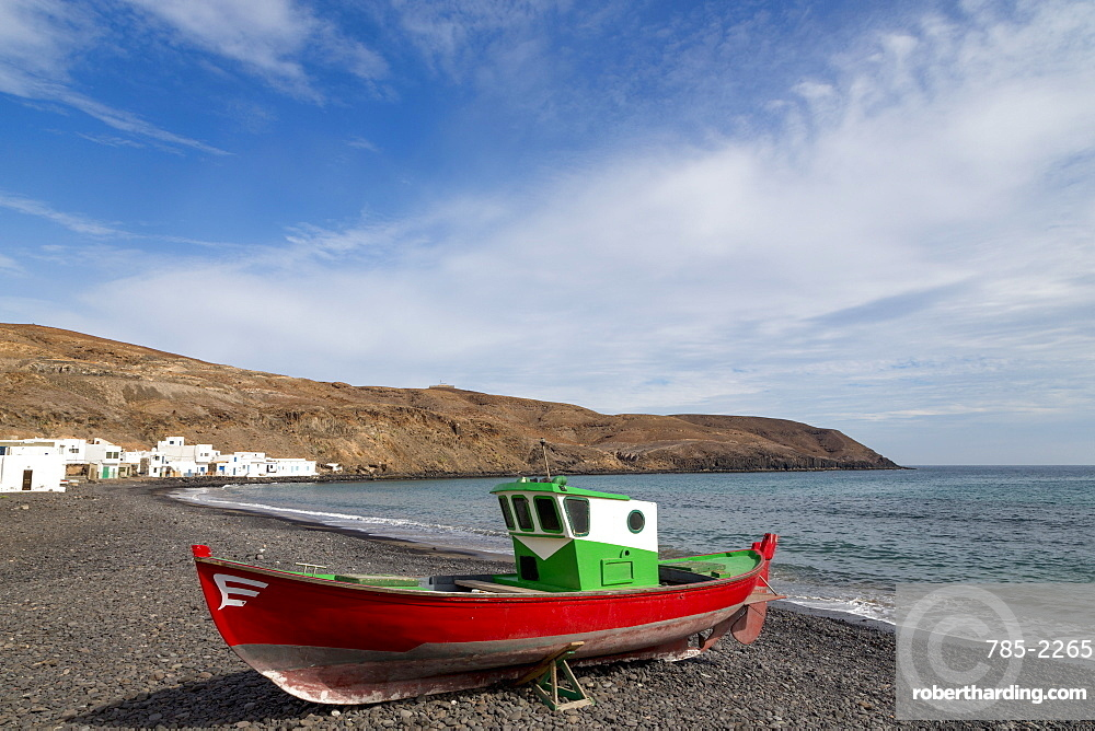 Traditional fishing boat at Playa Pozo Negro on the volcanic island of Fuerteventura, Canary Islands, Spain, Atlantic, Europe