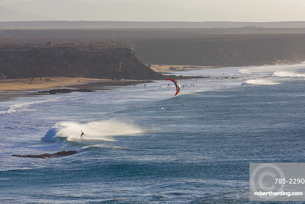 Windsurfer off El Cotillo beach on the volcanic Canaries island of Fuerteventura