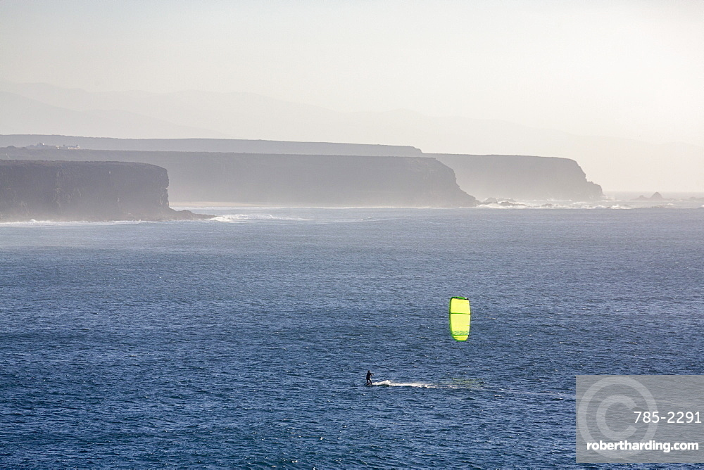 Windsurfer off El Cotillo beach on the volcanic island of Fuerteventura, Canary Islands, Spain, Atlantic, Europe
