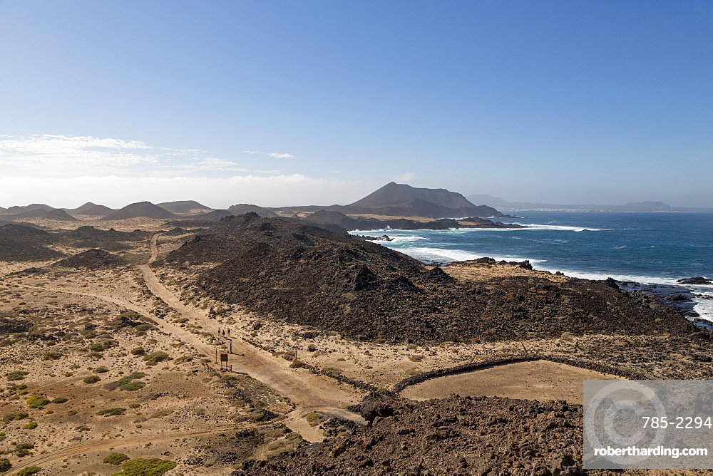 The island of Lobos off the coast of Fuerteventura near Corralejo, Lobos, Canary Islands, Spain, Atlantic, Europe