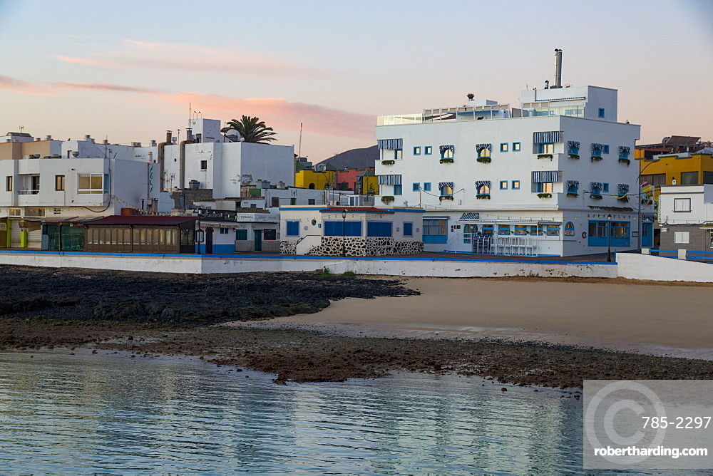 Dawn light on the waterfront of old town Corralejo on the island of Fuerteventura, Canary Islands, Spain, Atlantic, Europe