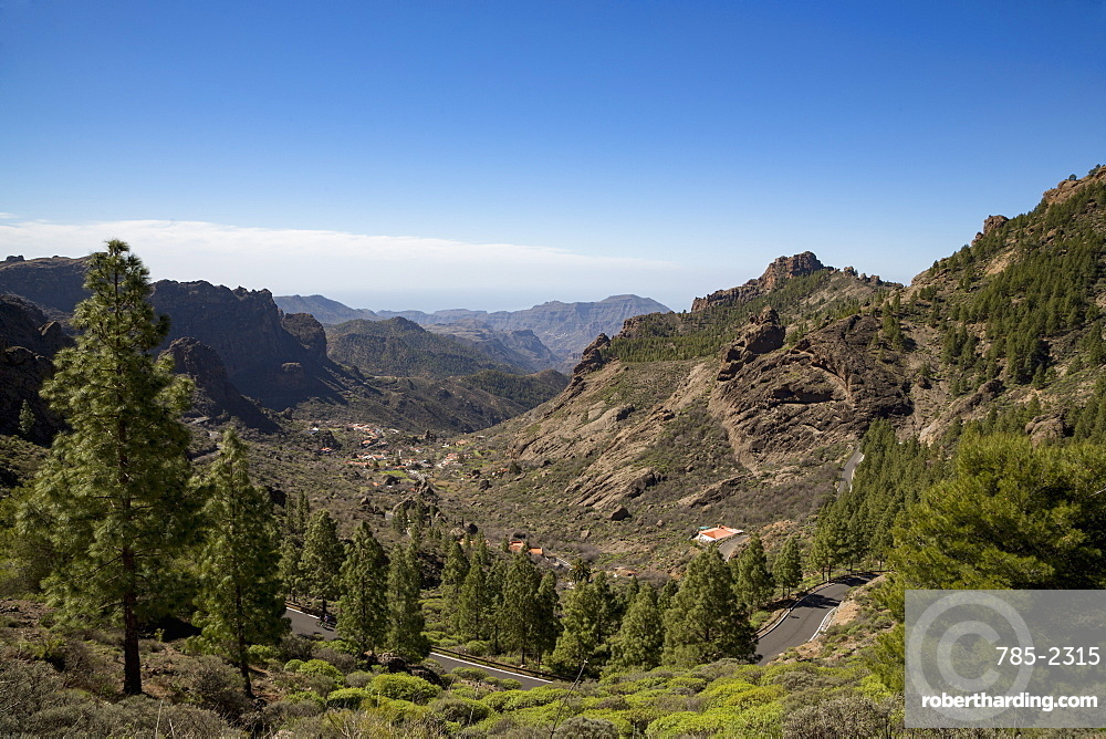Valley road near Roque Nublo in the Nublo Rural Park in the centre of Gran Canaria