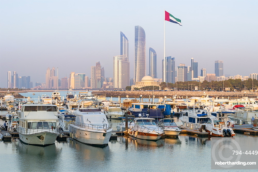 Modern city skyline and Marina, Abu Dhabi, United Arab Emirates, Middle East