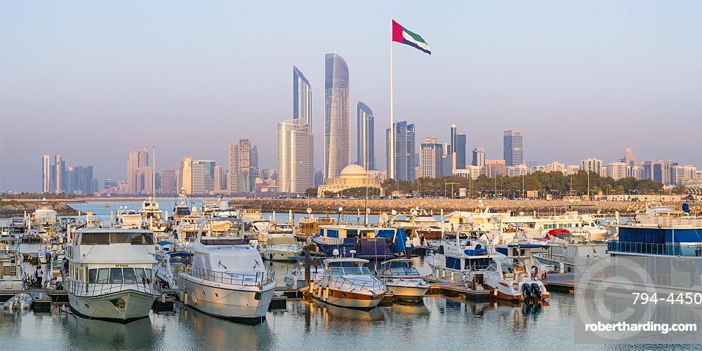 Modern city skyline and Marina, Abu Dhabi, United Arab Emirates, Middle East