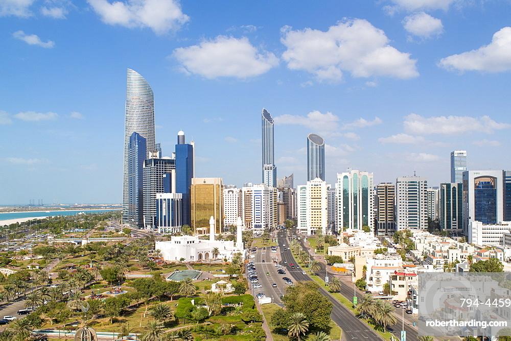 Modern city skyline, Abu Dhabi, United Arab Emirates, Middle East