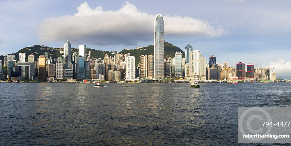 Hong Kong skyline seen from the Kowloon Side of the Harbour, Hong Kong, China, Asia