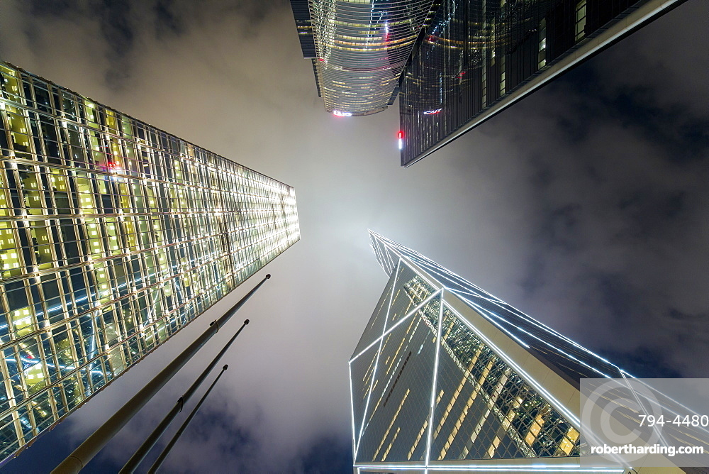 Low angle view of skyscrapers in Central, Hong Kong Island, Hong Kong, China, Asia