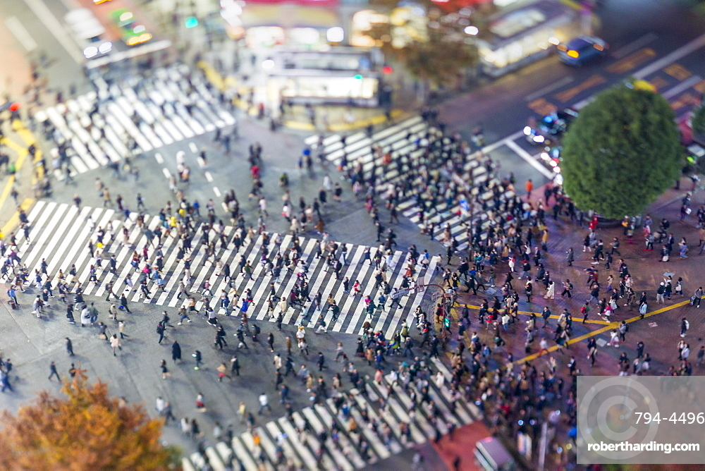 Shibuya Crossing, centre of Shibuya's fashionable shopping and entertainment district, Shibuya, Tokyo, Japan, Asia