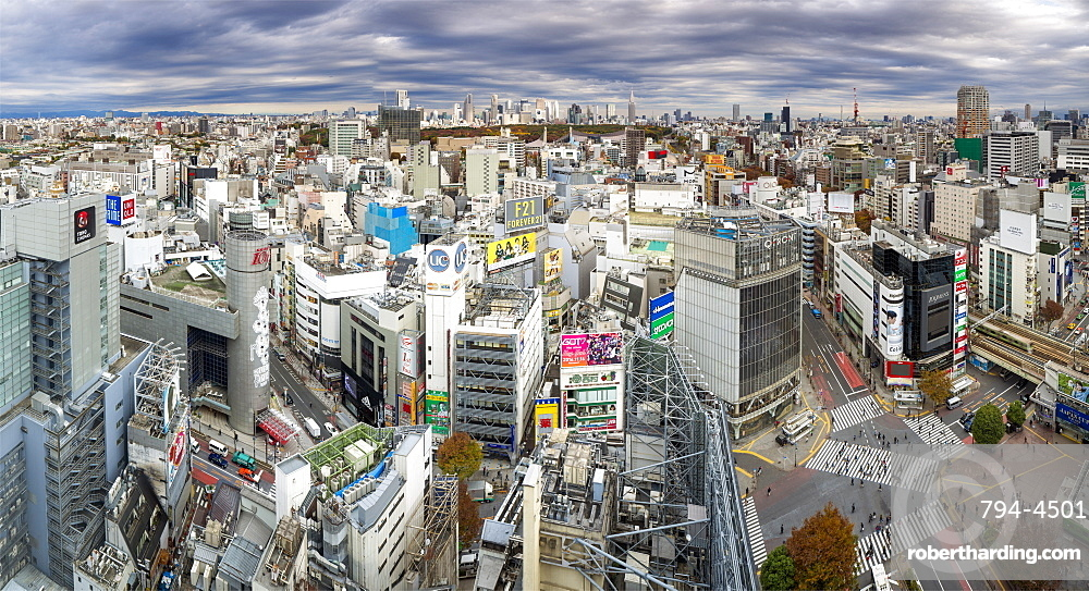Elevated view over Shibuya Ward towards the Shinjuku skyline, Tokyo, Japan, Asia