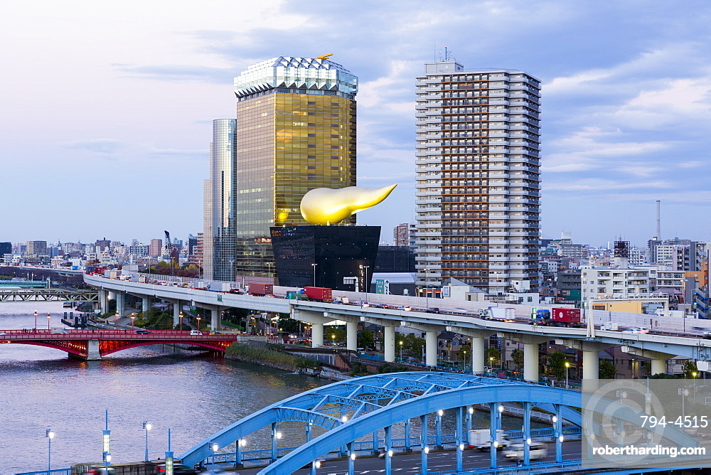 Modern architecture along the Sumida River, Tokyo, Japan, Asia