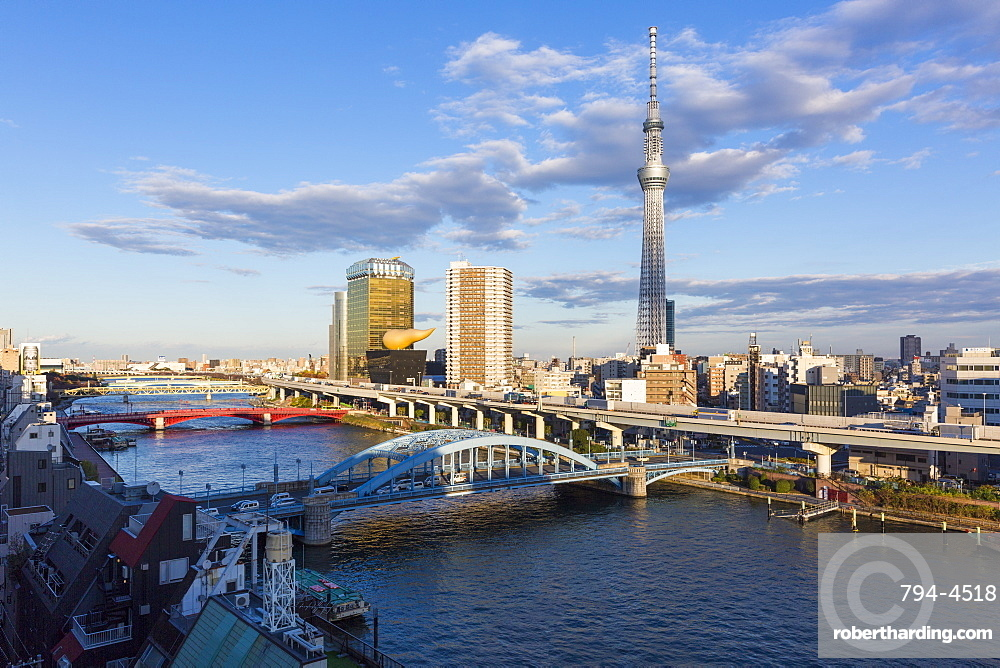 City skyline and Skytree on the Sumida River, Tokyo, Japan, Asia