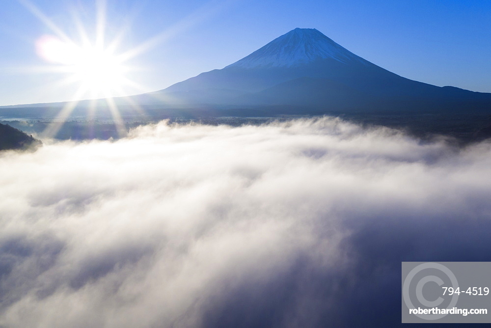 Clouds over Lake Ashinoko with Mount Fuji behind, Fuji-Hakone-Izu National Park, Hakone, Shizuoka, Honshu, Japan, Asia (Drone)