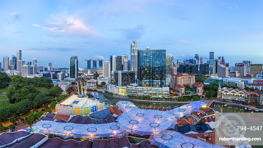 City skyline and riverside restaurants at the entertainment district of Clarke Quay, Singapore, Southeast Asia, Asia