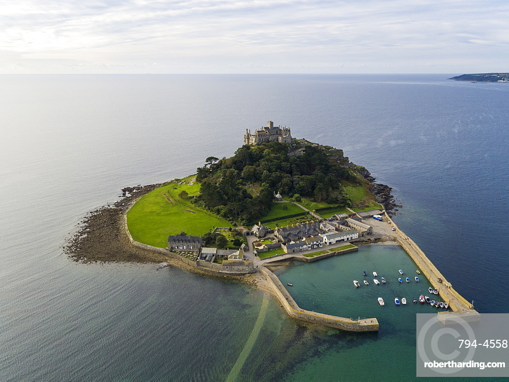 St. Michaels Mount, Marazion, Cornwall, England, United Kingdom, Europe (Drone)