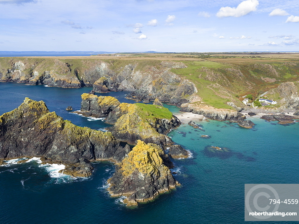 Rocky coastline and beaches at Kynance Cove, the Lizard, Cornwall, England, United Kingdom, Europe (Drone)