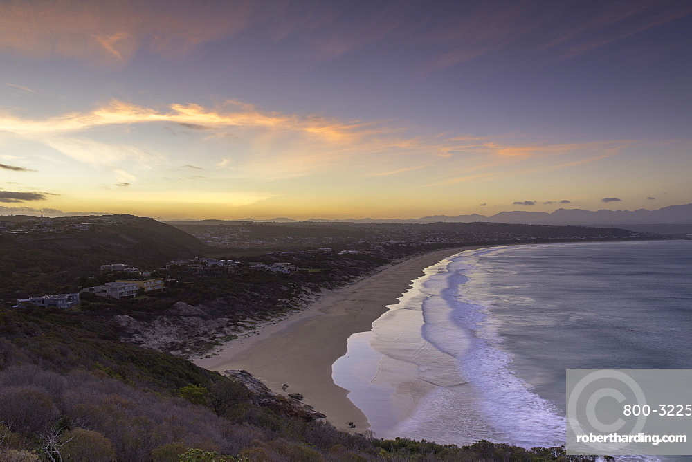Robberg Nature Reserve and Plettenberg Bay at sunset, Western Cape, South Africa