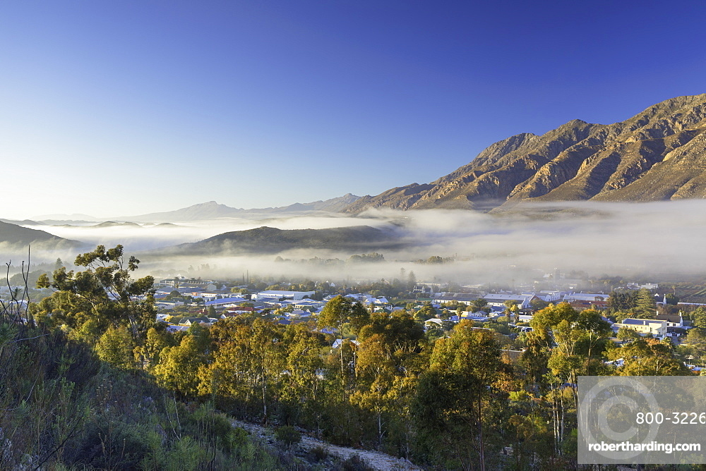 View of mist over Montagu at dawn, Western Cape, South Africa