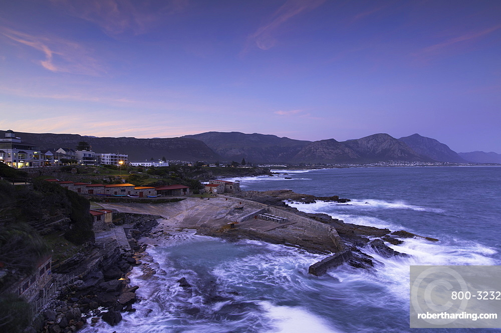 Hermanus at sunset, Western Cape, South Africa, Africa