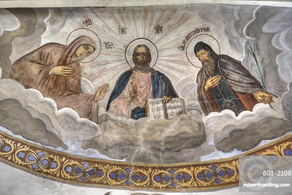 Frescoes, Cathedral, St. Anthony Monastery, UNESCO World Heritage Site, Veliky Novgorod, Novgorod Oblast, Russia, Europe