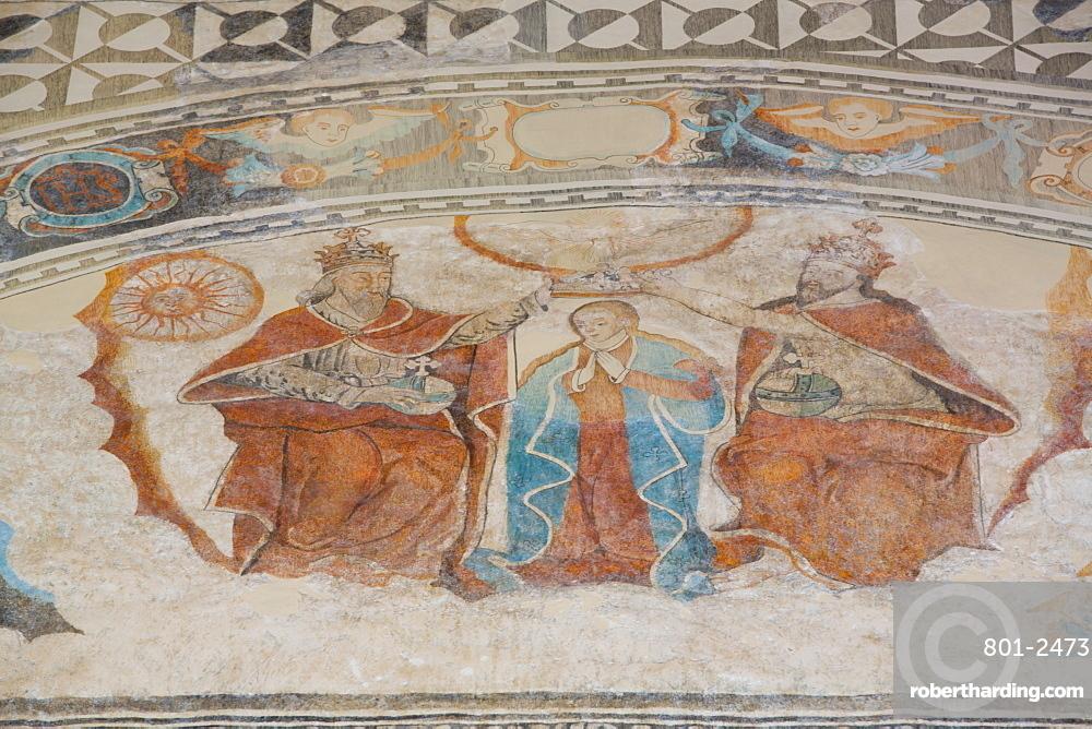 Coronation of the Virgin, Frescoes, Church of Santa Clara, founded 1553, Dzidzantun, Yucatan, Mexico, North America