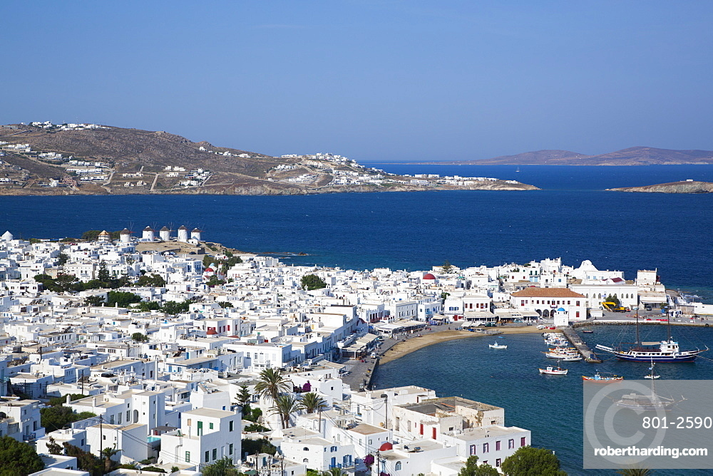 Mykonos Town and Harbor, Mykonos Island, Cyclades Group, Greek Islands, Greece, Europe