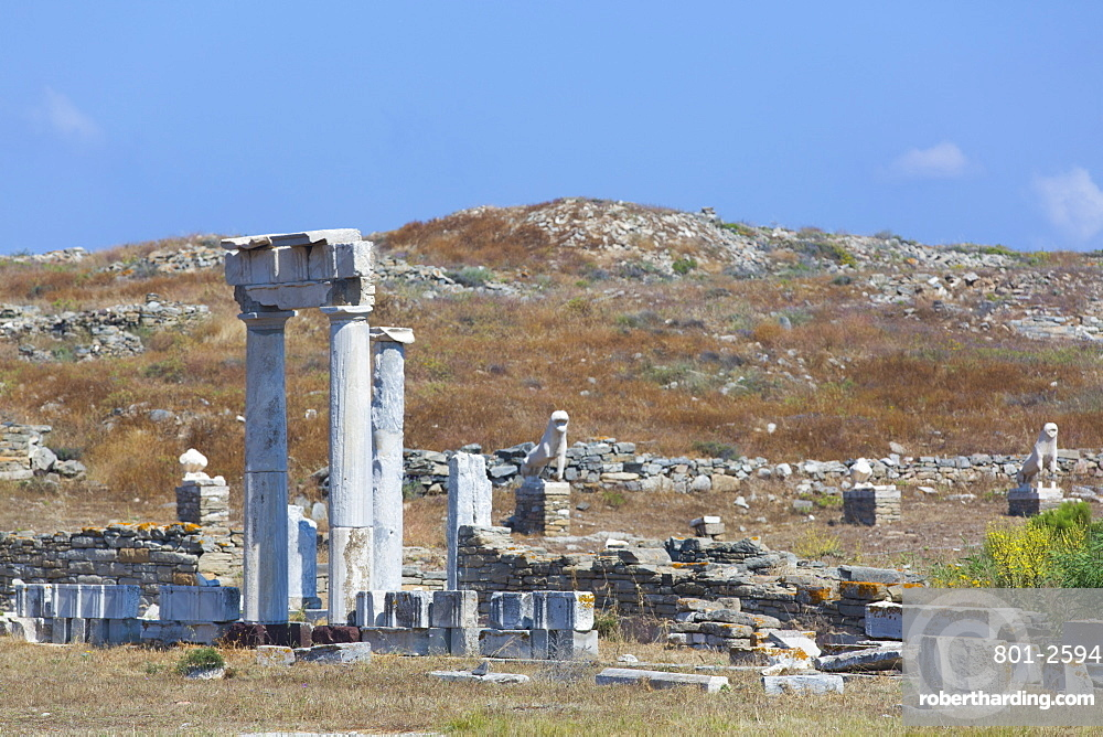 Agora of the Italians, Delos Island, UNESCO World Heritage Site, Cyclades Group, Greek Islands, Greece, Europe