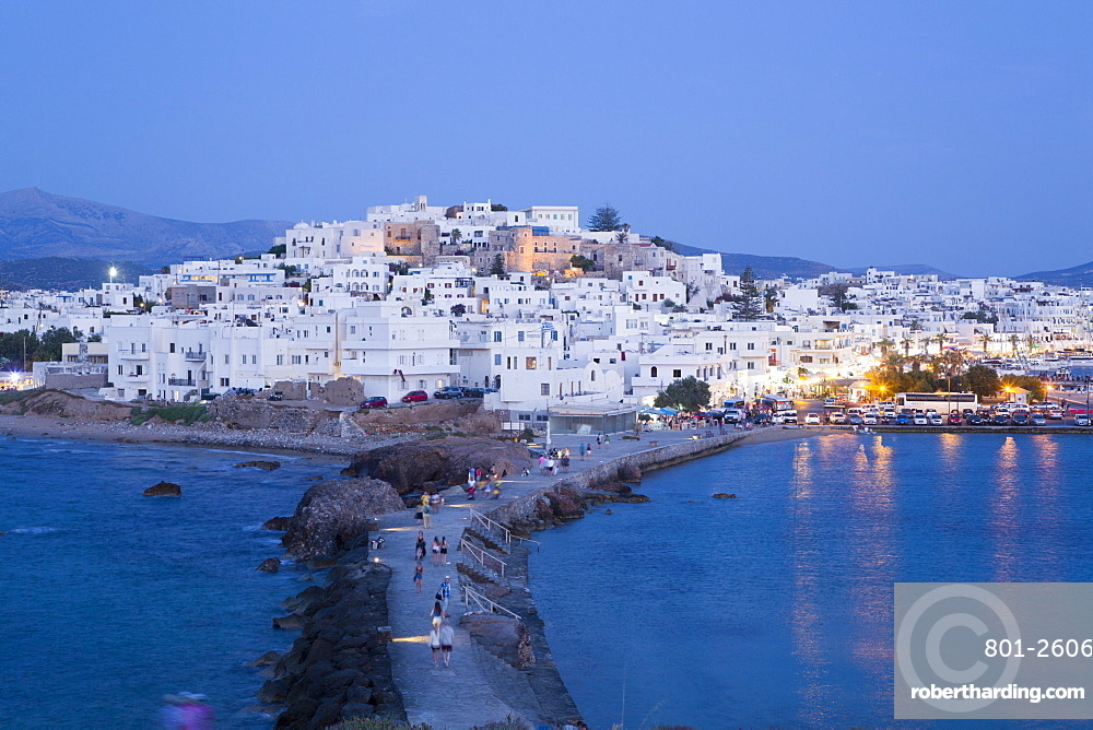 Hora (Old Town) with Causeway to the Temple of Apollo (foreground), Naxos Island, Cyclades Group, Greece