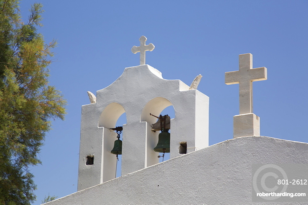 Belfry, Adjacent Church, Orthodox Cathedral (1870), Hora, Naxos Island, Cyclades Group, Greece