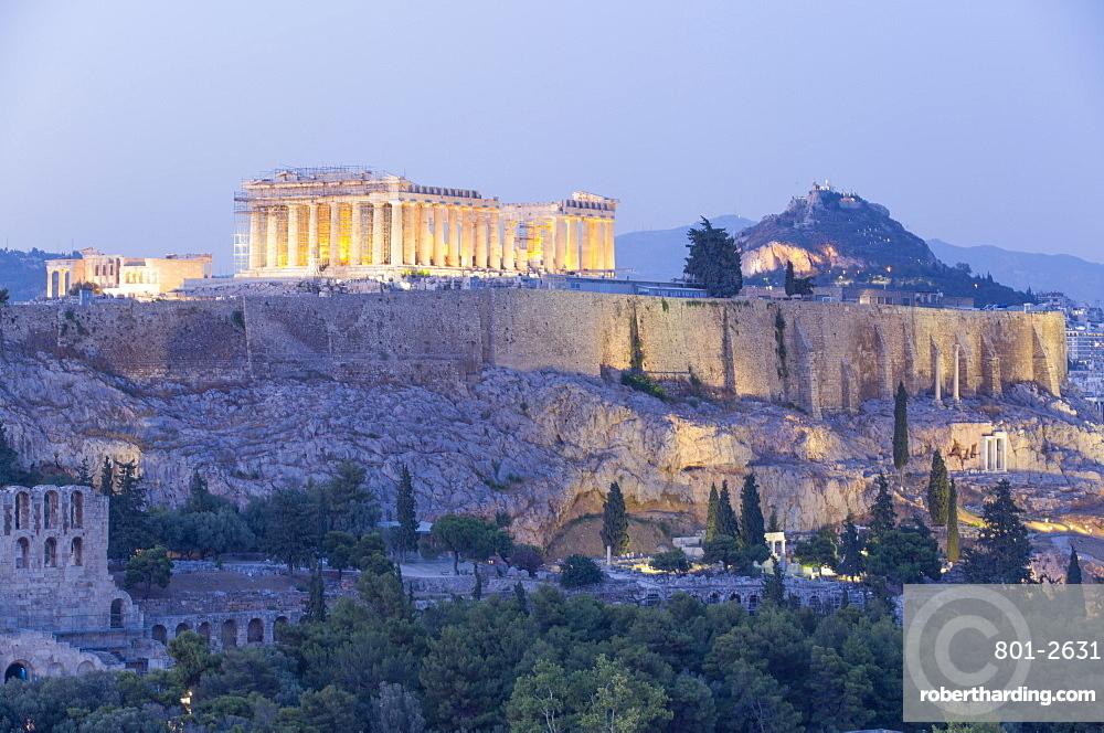 Evening, Parthenon, Acropolis, UNESCO World Heritage Site, Athens, Greece, Europe