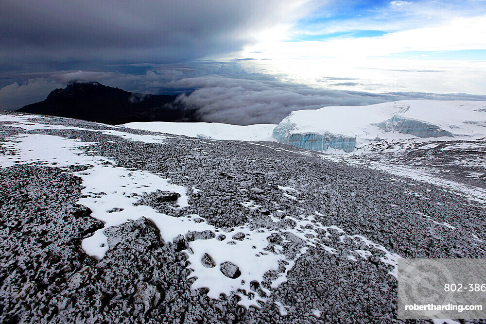 A dusting of fresh snow on the summit of Mount Kilimanjaro, UNESCO World Heritage Site, Tanzania, East Africa, Africa