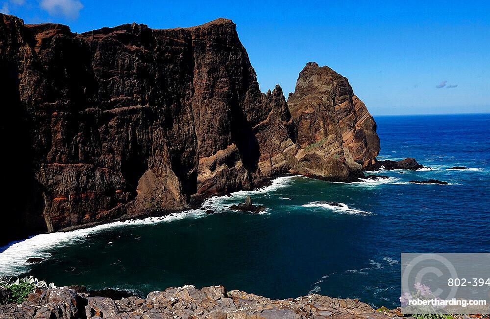 The dramatic sea cliffs of the Sao Lourenco peninsula, eastern Madeira, Portugal, Atlantic Ocean, Europe
